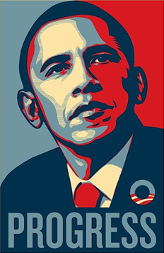 "Obama - Progress - Courtesy of ""Obey"""